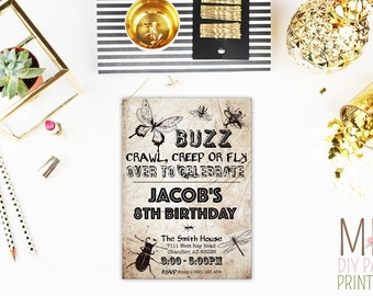 Vintage insect invite,Bugs Invitation, Bugs Birthday Invitation, Bugs Birthday, Bugs Party,reptile invite