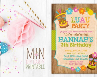 Hawaiian Birthday Party Invitation 2,Luau Invitations,rintable Hawaiian Luau Birthday Party Invitation for Adult or Kids,Hawaiian invitation