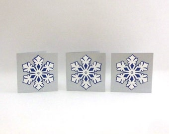 Snowflake Mini Note Cards, Silver-Blue, Christmas Gift Tags, 3x3 cards, Set of 3, Fancy Christmas Cards, Blank Cards, TwoSistersGreetings