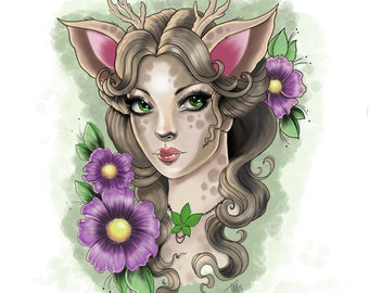 Deer Girl Print, also Hand Signed by artist, on Luster Paper