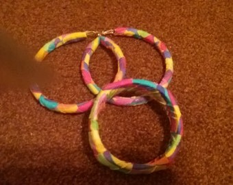Hoop earrings and bangle bracelet wrapped in colorful fabric