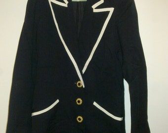 Black jacket with white lines and jewels botton