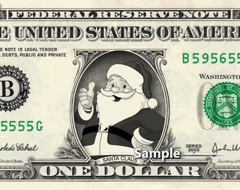 SANTA CLAUS on a Real Money - Custom Dollar Bill Art - Cash