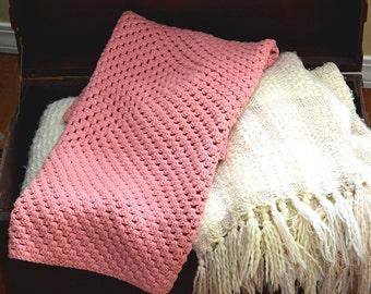 Vintage Handmade Crochet Afghan Baby Blanket