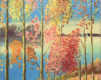 Fall View by Lake–Canvas Acrylic Painting Original