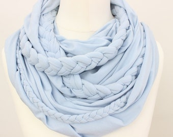 Zopfloop light blue / / Zopfschal / / braided scarf