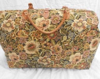 Large Travel Bag. Mary Poppins Carpet Bag. Tapestry and Leather Holdall. Gladstone Bag. Floral Doctors Bag.
