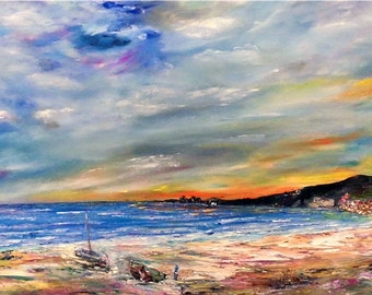 On the shore - large oil  painting on canvas | Size: 16'' x 31'' (40cm x 80cm)