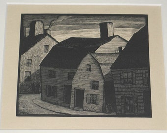 Thomas W. Nason Sunday in Marblehead Original Wood Engraving Colophon 1931 Woodcut Unmatted, Unframed