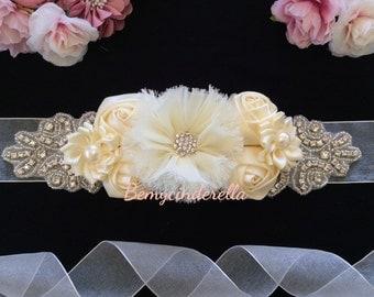 Rhinestone bridal sash belt rhinestone wedding sash belt Shabby chic flower bridal sash belt fabric flower wedding sash belt