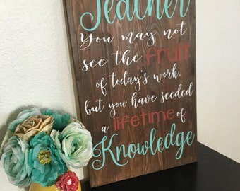 Teacher Wood Sign, Classroom Sign, Teacher Gift, Gift for Her, Rustic Decor