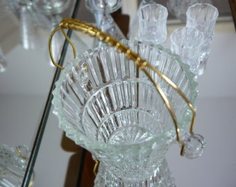 Petit French Vintage Cut Glass Ice Bucket with Gold Handle