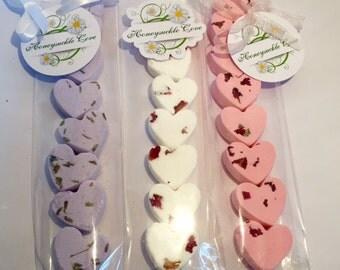 8 x Mini LOVE Heart Shaped bath bombs, gift wrapped LUSH and cute