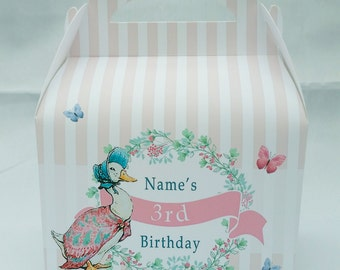 Jemima Puddleduck Peter Rabbit Personalised Children's Party Box Gift Bag Favour