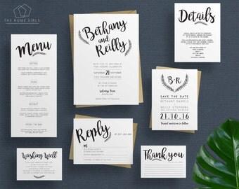 Printable Wedding Invitation Suite / Rustic Calligraphy suite / Kraft Invitation Suite / Save the Date / RSVP / Details / Custom / Bethany