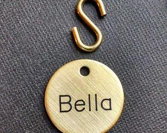 """DOG COLLAR TAG or leash tag - Medium Custom Engraved Solid Brass or Nickel Silver - 7/8"""" or 1"""""""