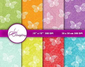 Butterfly Digital Paper Download, Digital Background Paper Pack, Butterflies Digital Pattern, Digital Scrapbook Paper 360