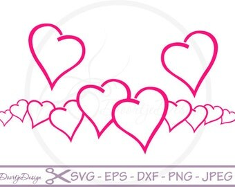 SVG Love, Valentine Hearts Vector Files EPS, Clipart Hearts DXF files silhouette, png, svg files for cricut, Scrapbooking Hearts