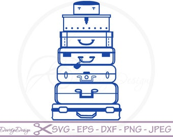 Vector Suitcases SVG files for Cricut, Suitcases cutting files, clipart Suitcases, digital drawing, instant download, silhouette files