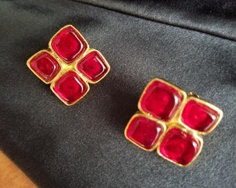 Chanel Earrings Red Gripoix 1994 Gold Tone