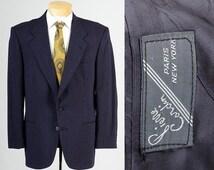 10% OFF Mens Vintage 80s Pierre Cardin Black Blue Check Jacket Blazer Sportcoat  43R 44R