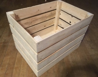 Large Rustic Wooden Crate, 16x16x22, Produce Crate, Apple Crate