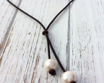 FREE G-BOX Pearl Tassel Necklace,freshwater pearl tassel necklace,leather pearl necklace,tassel necklace,pearl on leather necklace,pearl