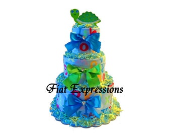 Alphabet Turtle Diaper Cake