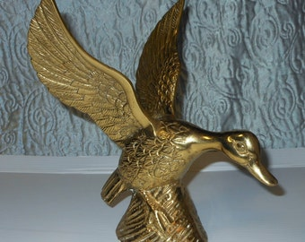 """Vintage Brass Duck (ready for take off) 9"""""""