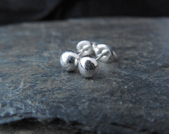 Recycled sterling silver ball earrings, studs, posts, ecofreindly jewelry, second earrings, 5mm