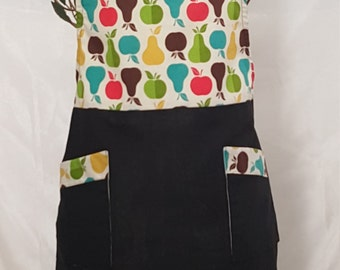 Full Black Apron with Pears and Apples print  Bib
