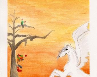 Climbing Trees and Pegasus Wings, Original Watercolor