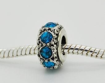 Sky Blue  Rhinestone Bead, Bracelet Beads, Charm, European Bracelet.