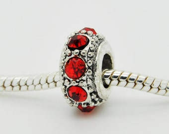 Red Rhinestone Bead, Bracelet Beads, Charm, European Bracelet Beads.