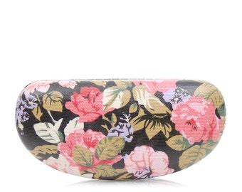 Hard Sunglass case - Black Pink Rose - Oilcloth Ladies Sunglasses case - Oil cloth Womens Glasses case - Eyeglass Holder - Eyeglasses Case