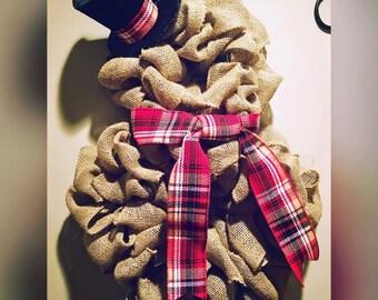 Brown Burlap Snowman Wreath