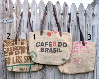 Up-cycled Brown Coffee Tote Bag/ Cafes Do Brasil Tote/Coffee Bag/ Mitsui Tote/Purse/Eco Friendly Purse/Coffee Bag/ Beach Bag/