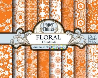 "Orange Floral Digital Paper, White and Orange Digital Paper, Orange Printable Patterns, Orange and White Scrapbook Paper 12x12"""