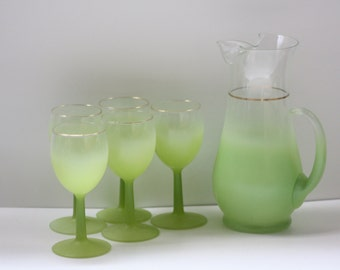 Vintage Blendo Lime Green Pitcher and Wine Glasses Set of five (5) West Virginia Glass