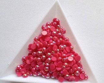 Cherry Red 4mm half round pearls 400 flatback scrapbooking card making embellisments
