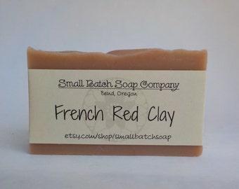 French Red Clay Soap, French Clay Soap, Red Clay Soap, All Natural Soap, Vegan Soap, Handmade Soap, Cold Process Soap, Palm Free Soap, Clay