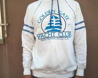 1980s large SF hatch club vintage hooded sweater