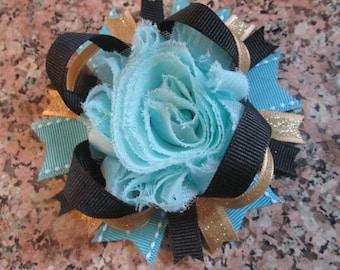Blue & Gold Flower Hair Bow