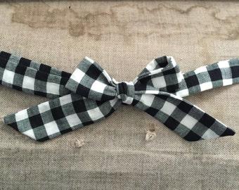 Black and white Tartan Ribbon-