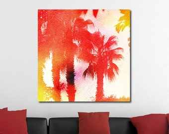 Palm Trees at Sunset, Tropical Watercolor Gallery-Wrapped Canvas