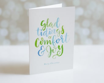 Christmas Card Set - Glad Tidings of Comfort and Joy - Holiday Card Set - Watercolor Hand Lettering
