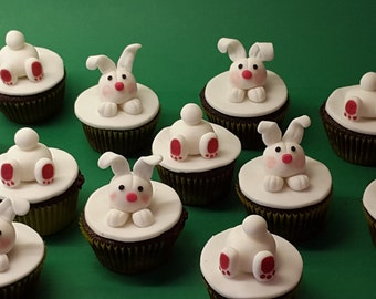 12 Easter bunny cupcake toppers