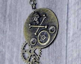 SteamPunk Skull & Gear Necklace