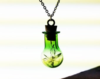 Green Glass Bottle Dandelion Seed Necklace