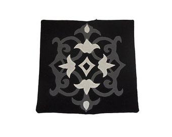 Patchwork Chinois Black & White Khayameya Handmade Cushion Cover